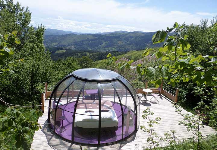bulle romance dôme transparent en Savoie, Rhône séjour atypique